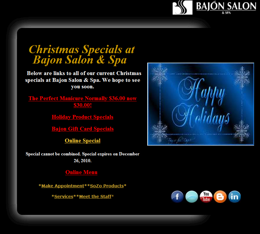Bajon salon spa christmas specials for 2010 the best for 12 days of christmas salon specials