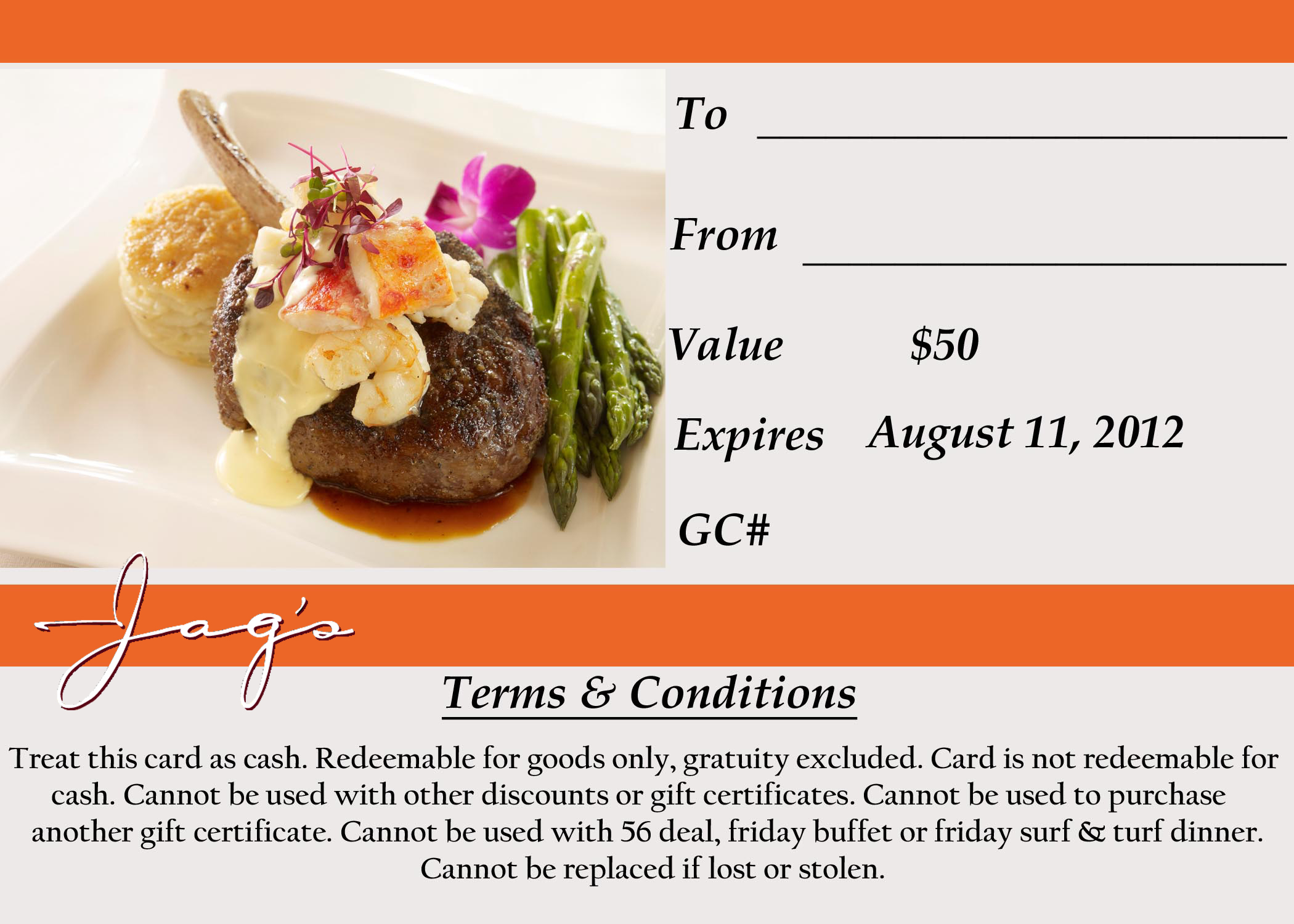 Get A 5000 Jags Steak Seafood Gift Certificate For Only 2500